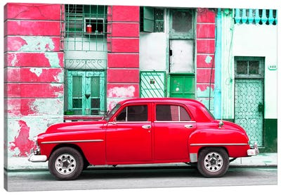 Red Classic American Car Canvas Art Print