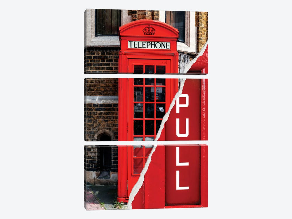Pull - London Booth by Philippe Hugonnard 3-piece Canvas Art