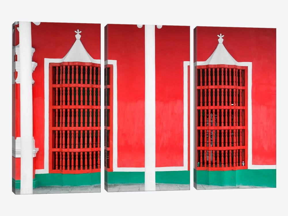 Red Facade 3-piece Canvas Wall Art