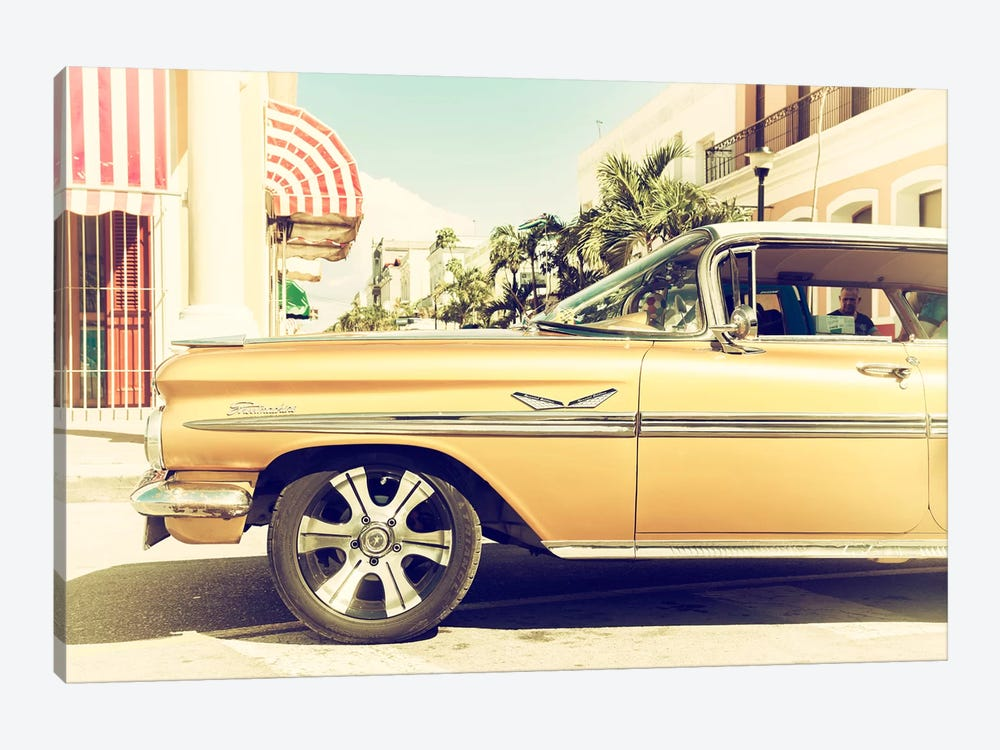 Cuba Fuerte Collection - Vintage Yellow Car by Philippe Hugonnard 1-piece Canvas Art