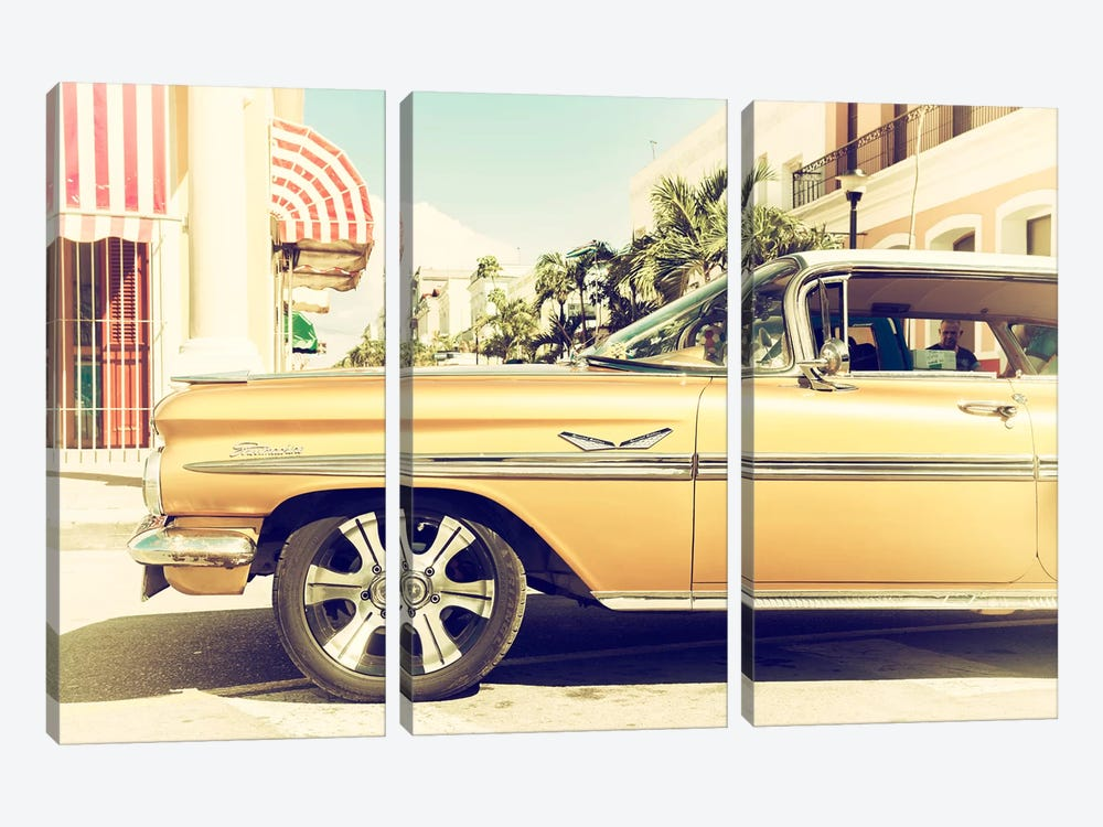 Cuba Fuerte Collection - Vintage Yellow Car by Philippe Hugonnard 3-piece Canvas Art