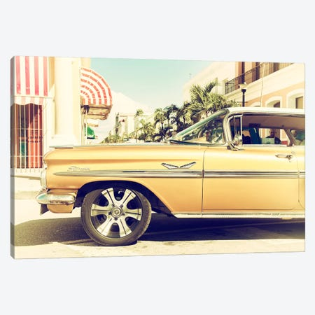 Vintage Yellow Car Canvas Print #PHD342} by Philippe Hugonnard Canvas Art Print