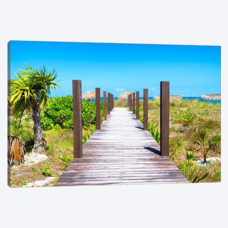 Wild Beach Jetty Canvas Print #PHD343} by Philippe Hugonnard Canvas Art Print