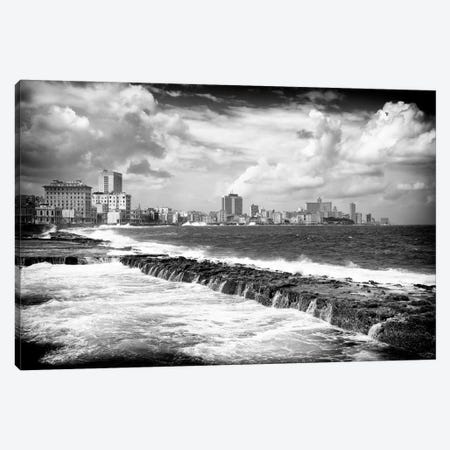 Cuba Fuerte Collection B&W - Malecon Wall of Havana Canvas Print #PHD344} by Philippe Hugonnard Canvas Wall Art
