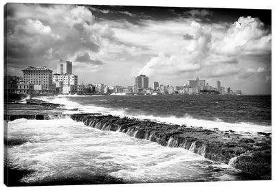 Cuba Fuerte Collection B&W - Malecon Wall of Havana Canvas Art Print