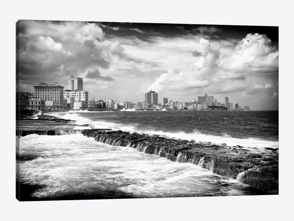 Malecon Wall of Havana in B&W by Philippe Hugonnard 1-piece Canvas Wall Art