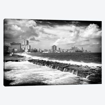 Malecon Wall of Havana in B&W Canvas Print #PHD344} by Philippe Hugonnard Canvas Wall Art