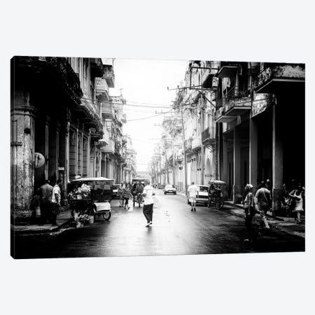 Old Havana Street in B&W Canvas Print #PHD345} by Philippe Hugonnard Canvas Wall Art