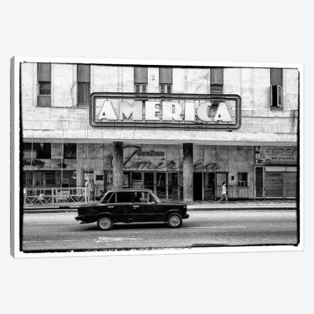 Teatro America in Havana in B&W Canvas Print #PHD346} by Philippe Hugonnard Canvas Wall Art