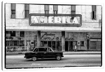 Teatro America in Havana in B&W Canvas Art Print