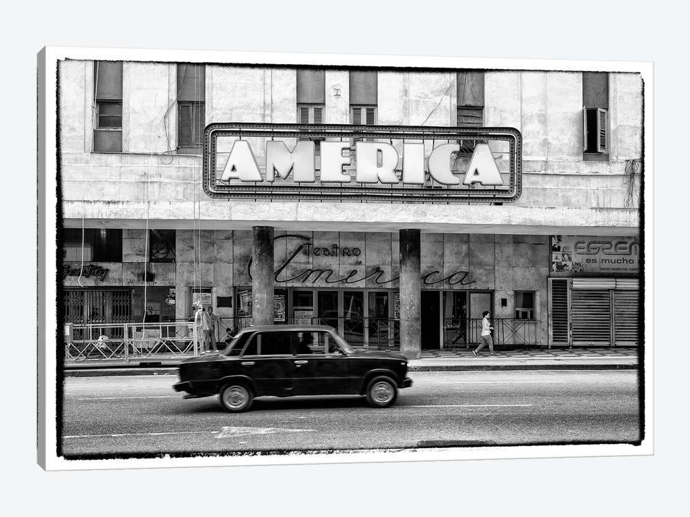 Teatro America in Havana in B&W by Philippe Hugonnard 1-piece Canvas Art