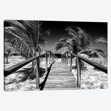 Cuba Fuerte Collection B&W - Wooden Pier on Tropical Beach VI Canvas Print #PHD348} by Philippe Hugonnard Art Print