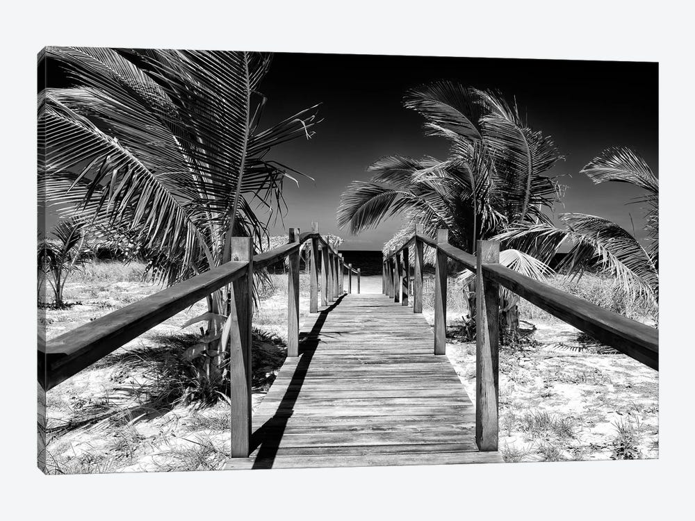 Cuba Fuerte Collection B&W - Wooden Pier on Tropical Beach VI 1-piece Canvas Artwork