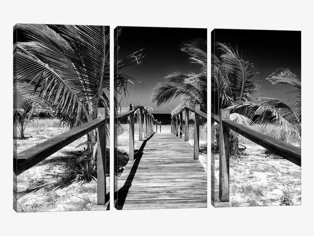 Cuba Fuerte Collection B&W - Wooden Pier on Tropical Beach VI by Philippe Hugonnard 3-piece Canvas Artwork
