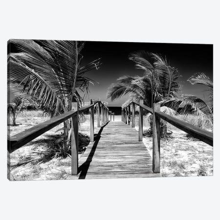 Wooden Pier on Tropical Beach VI in B&W Canvas Print #PHD348} by Philippe Hugonnard Art Print