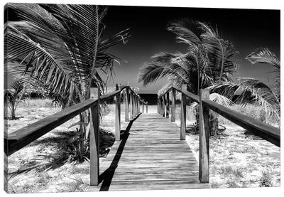 Wooden Pier on Tropical Beach VI in B&W Canvas Art Print
