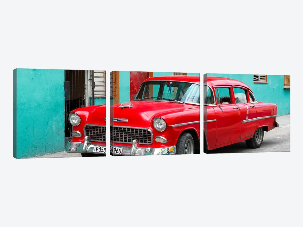Beautiful Classic American Red Car by Philippe Hugonnard 3-piece Canvas Art Print