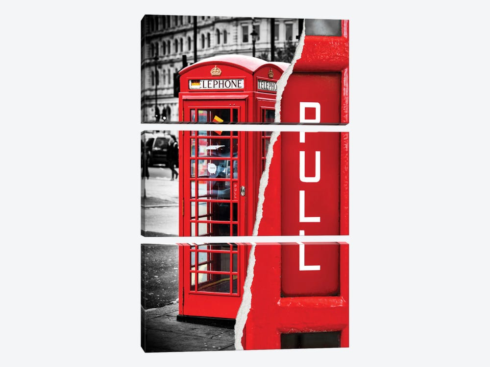 Red Phone Booth by Philippe Hugonnard 3-piece Canvas Art Print