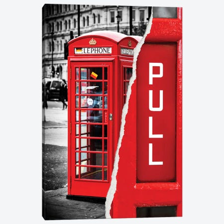 Red Phone Booth Canvas Print #PHD34} by Philippe Hugonnard Canvas Art