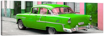 Cuban Green Classic Car in Havana Canvas Art Print