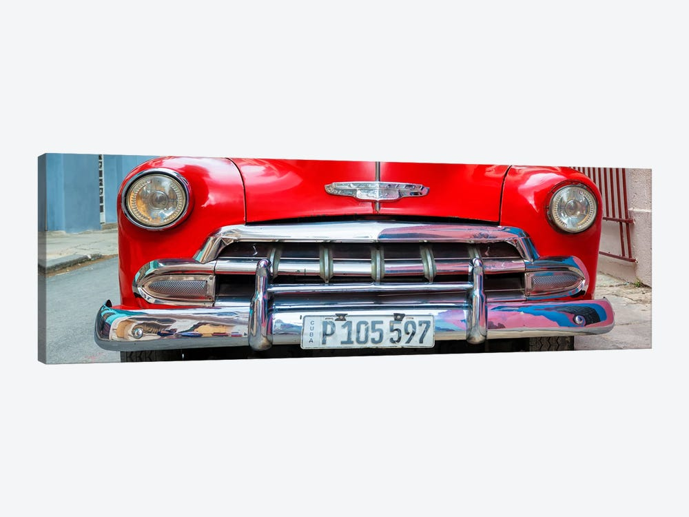 Cuba Fuerte Collection Panoramic - Detail on Red Classic Chevy by Philippe Hugonnard 1-piece Canvas Art