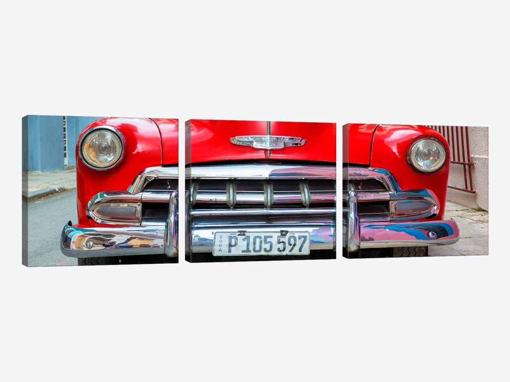 Cuba Fuerte Collection Panoramic - Detail on Red Classic Chevy by Philippe Hugonnard 3-piece Canvas Art
