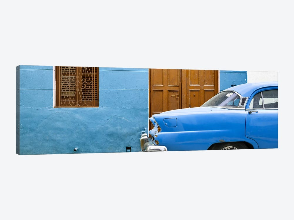 Cuba Fuerte Collection Panoramic - Havana Blue Street by Philippe Hugonnard 1-piece Canvas Art Print