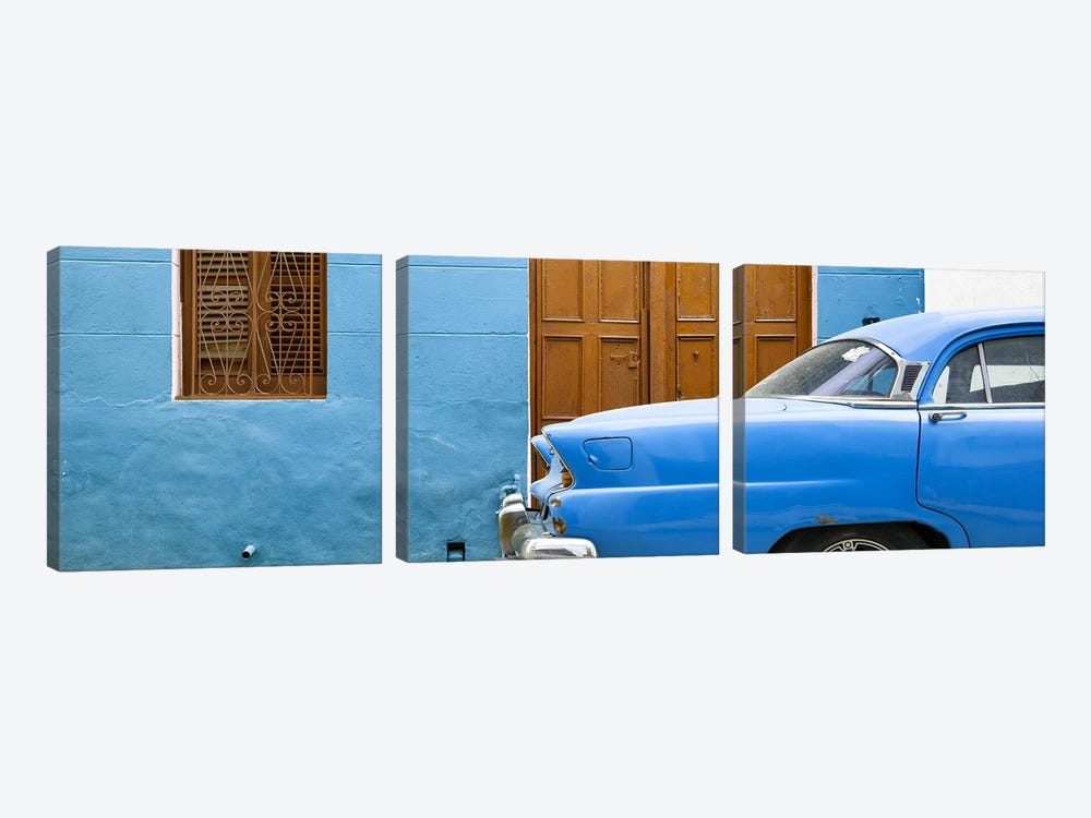 Cuba Fuerte Collection Panoramic - Havana Blue Street by Philippe Hugonnard 3-piece Canvas Print