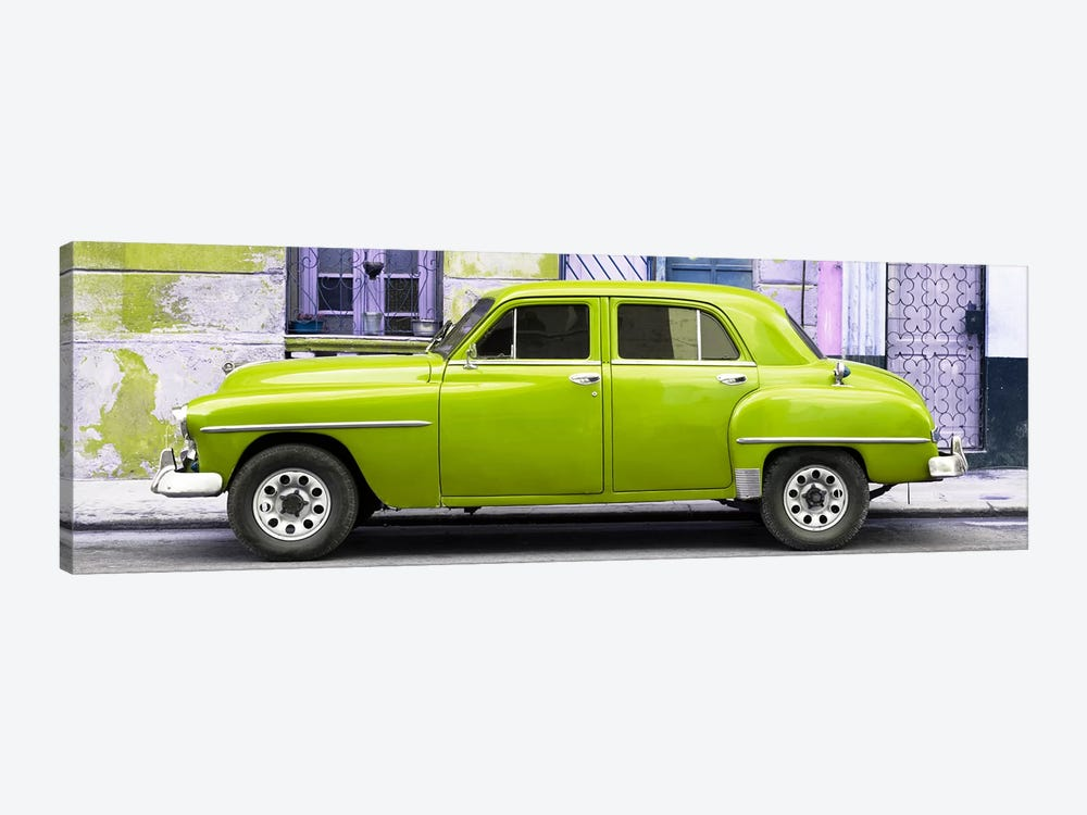 Cuba Fuerte Collection Panoramic - Lime Green Classic American Car by Philippe Hugonnard 1-piece Canvas Wall Art