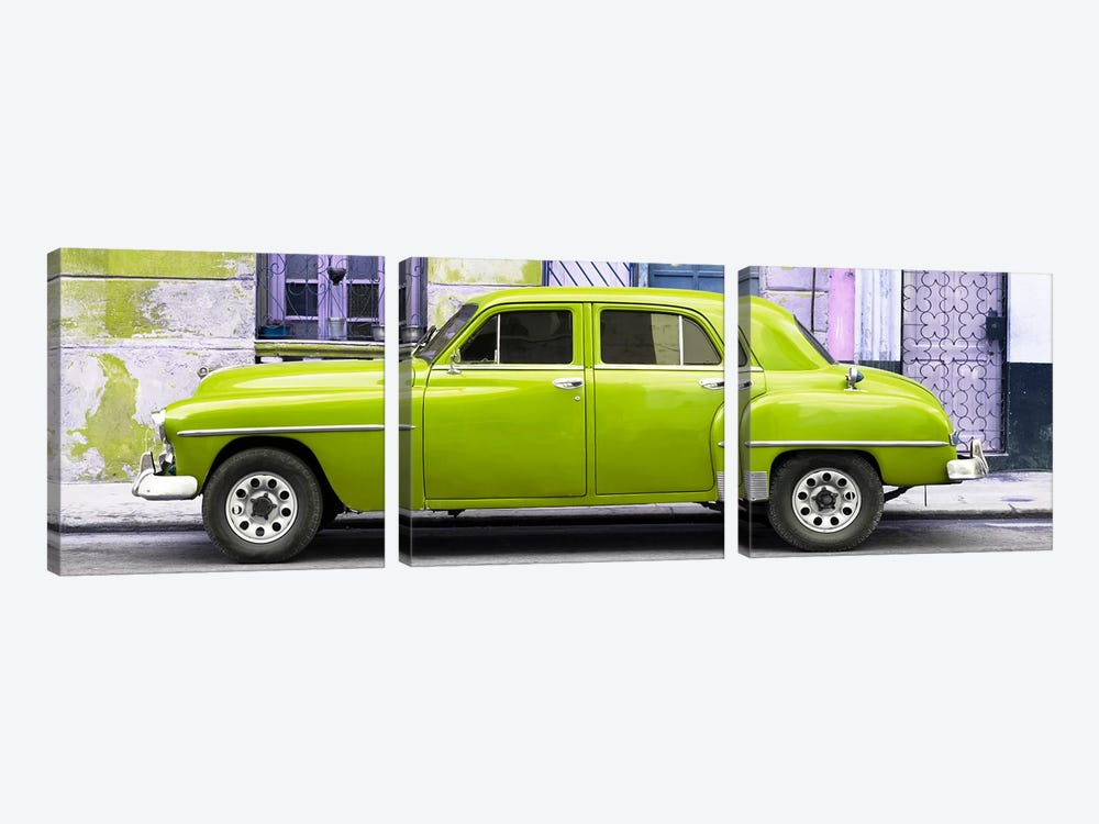 Cuba Fuerte Collection Panoramic - Lime Green Classic American Car by Philippe Hugonnard 3-piece Canvas Art