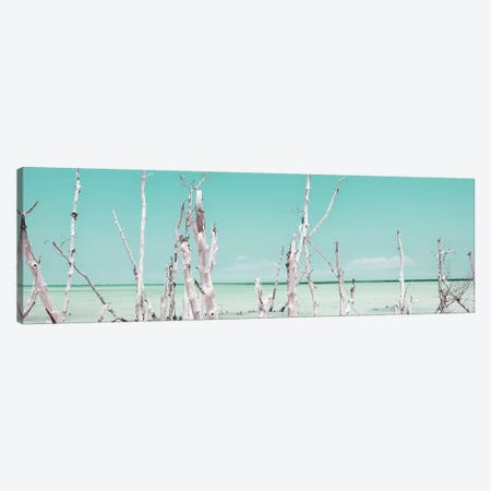 Cuba Fuerte Collection Panoramic - Ocean Wild Nature - Pastel Coral Green Canvas Print #PHD354} by Philippe Hugonnard Art Print