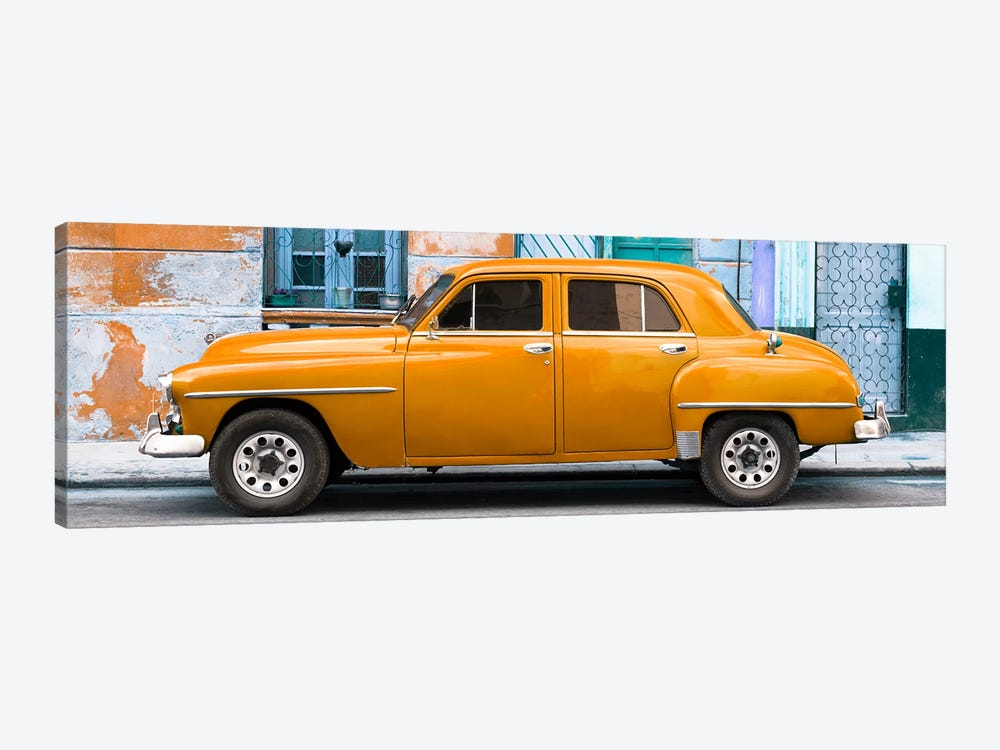 Cuba Fuerte Collection Panoramic - Orange Classic American Car by Philippe Hugonnard 1-piece Canvas Wall Art
