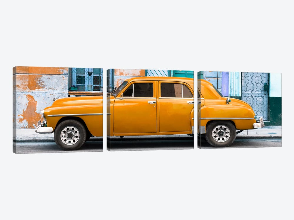 Cuba Fuerte Collection Panoramic - Orange Classic American Car by Philippe Hugonnard 3-piece Canvas Wall Art