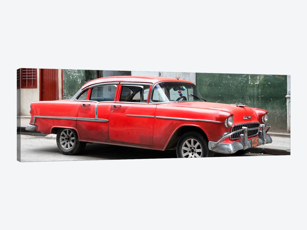 Cuba Fuerte Collection Panoramic - Red Chevy  by Philippe Hugonnard 1-piece Canvas Wall Art