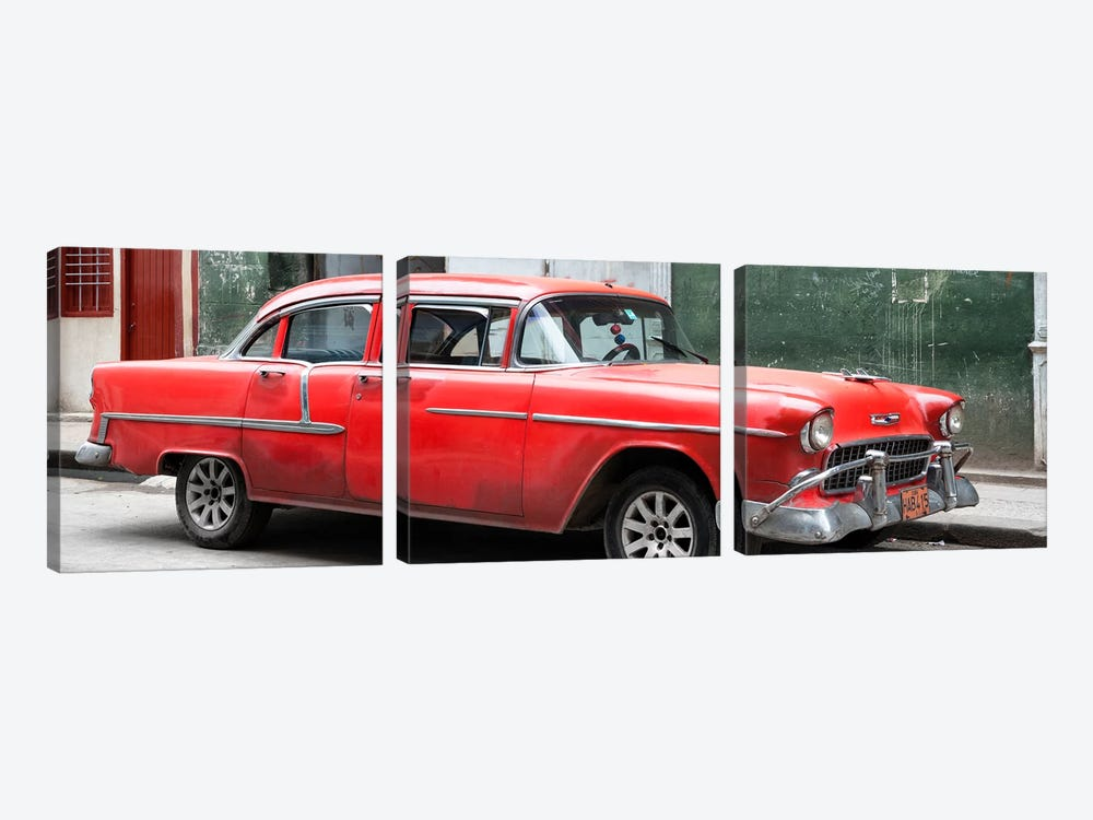 Cuba Fuerte Collection Panoramic - Red Chevy  by Philippe Hugonnard 3-piece Canvas Wall Art