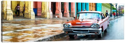 Red Taxi of Havana Canvas Art Print
