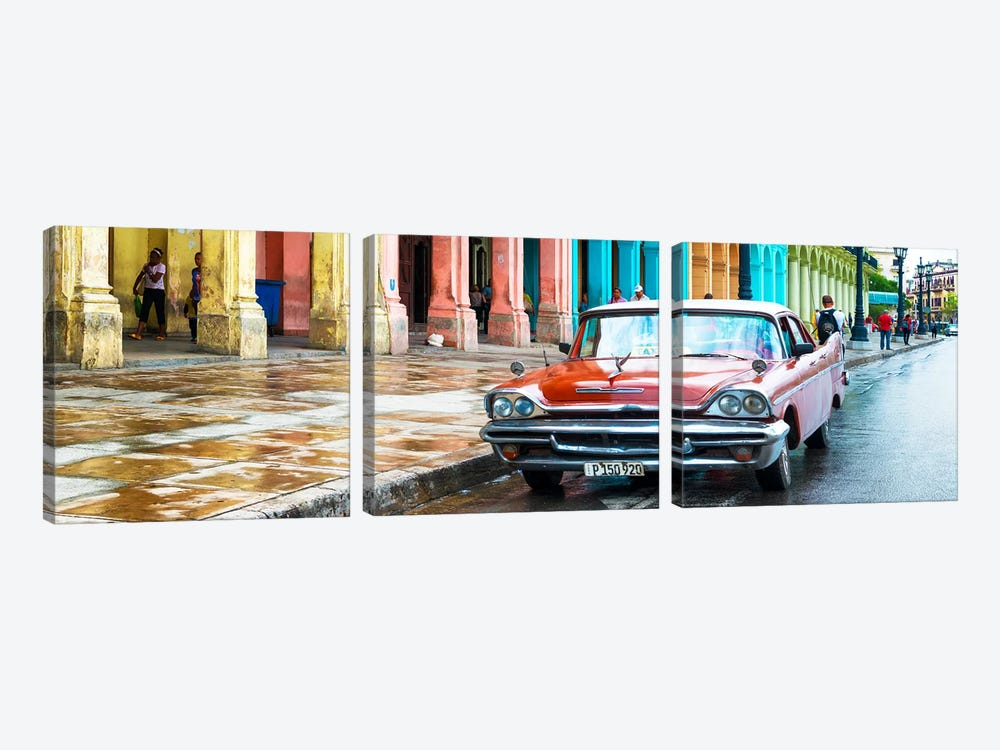 Red Taxi of Havana by Philippe Hugonnard 3-piece Canvas Art