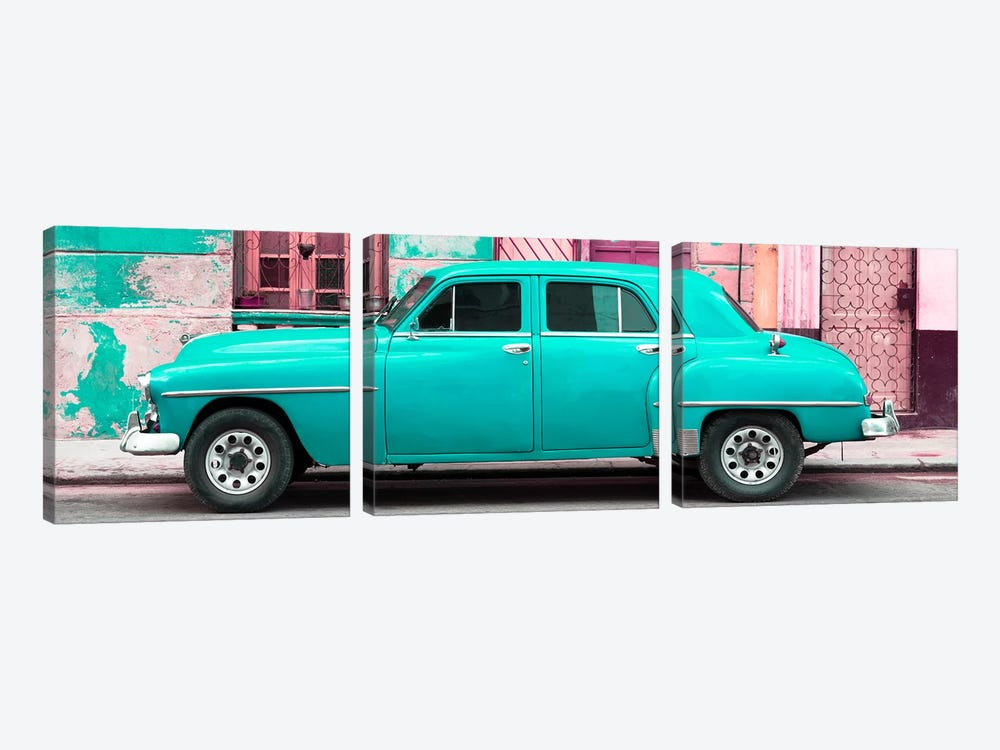 Turquoise Classic American Car by Philippe Hugonnard 3-piece Canvas Artwork