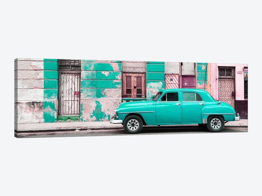 Turquoise Vintage American Car in Havana by Philippe Hugonnard 1-piece Canvas Wall Art