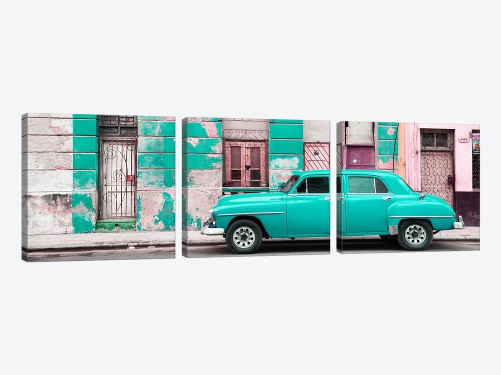 Turquoise Vintage American Car in Havana by Philippe Hugonnard 3-piece Canvas Art