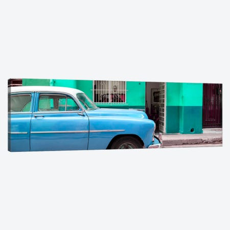 Vintage Blue Car of Havana Canvas Print #PHD364} by Philippe Hugonnard Canvas Wall Art