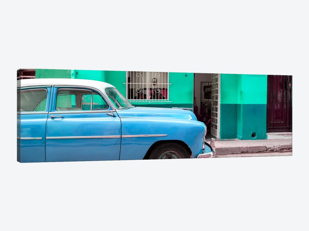 Vintage Blue Car of Havana by Philippe Hugonnard 1-piece Canvas Artwork