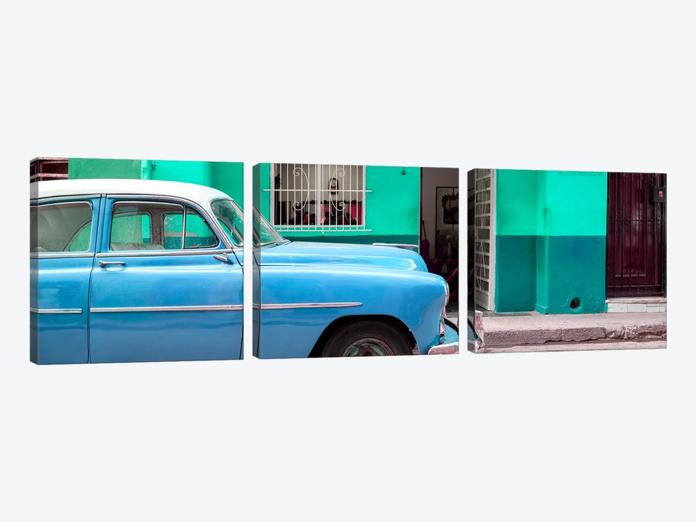 Vintage Blue Car of Havana by Philippe Hugonnard 3-piece Canvas Wall Art