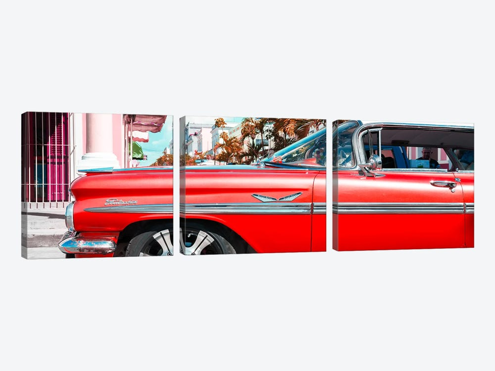 """Vintage Red Car """"Streetmachine"""" by Philippe Hugonnard 3-piece Canvas Art Print"""