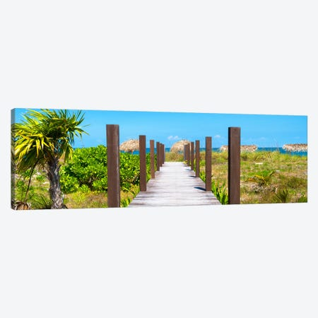 Wooden Jetty On The Beach Canvas Print #PHD367} by Philippe Hugonnard Canvas Artwork