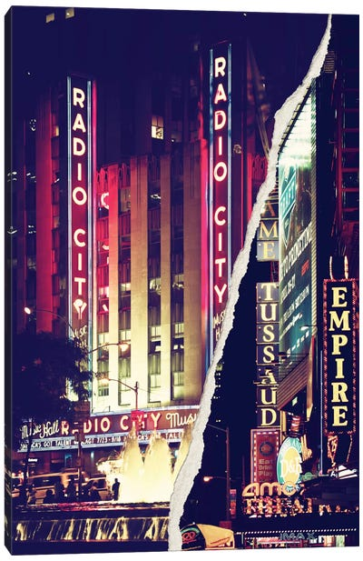 Dual Torn Series - Times Square Theater District Canvas Art Print