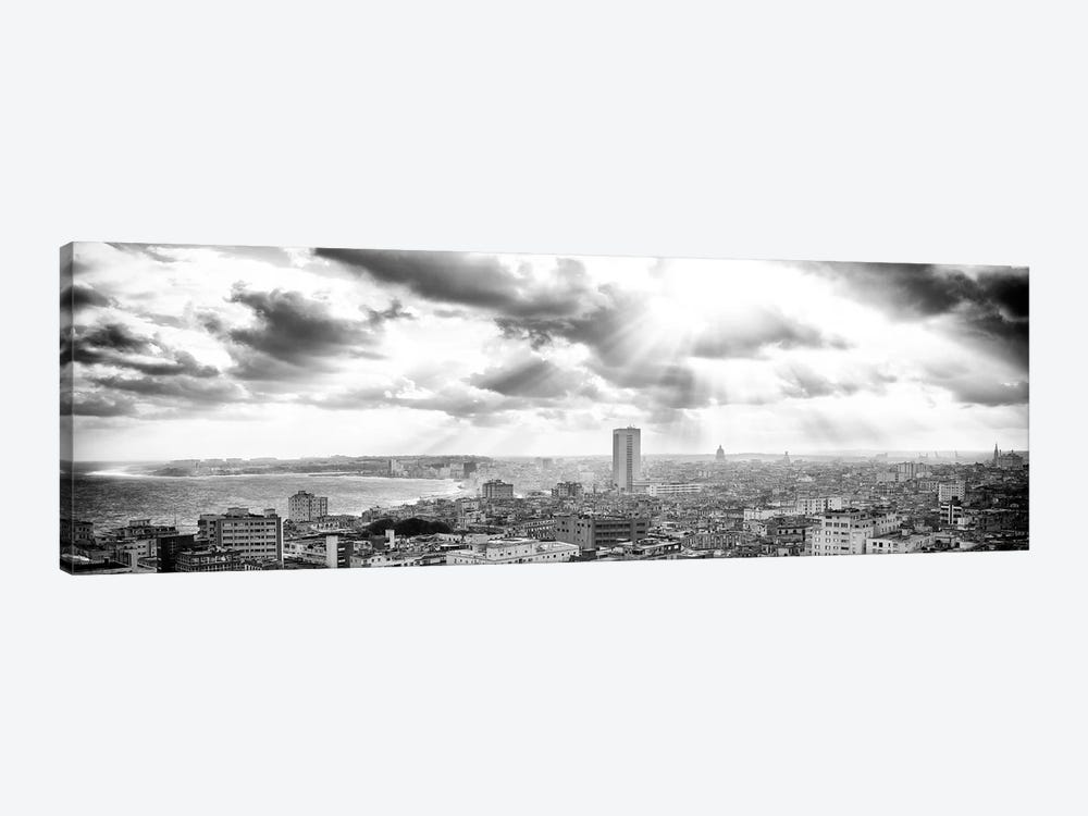 Rays Of Light On Havana in B&W by Philippe Hugonnard 1-piece Canvas Art Print