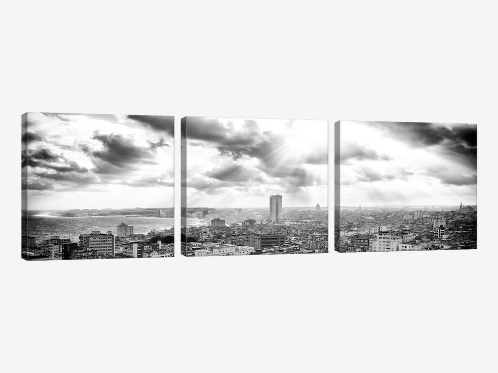 Rays Of Light On Havana in B&W by Philippe Hugonnard 3-piece Canvas Print