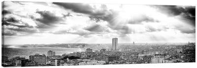 Rays Of Light On Havana in B&W Canvas Art Print