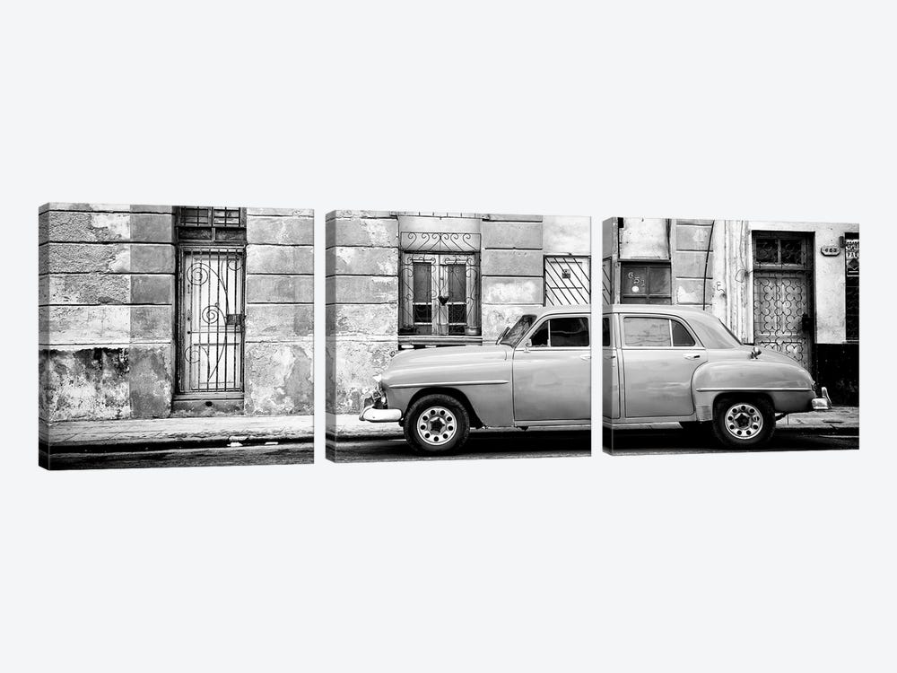 Cuba Fuerte Collection Panoramic BW - Vintage American Car in Havana 3-piece Canvas Art